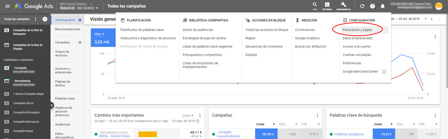 Facturacion en Google Ads Paso 1