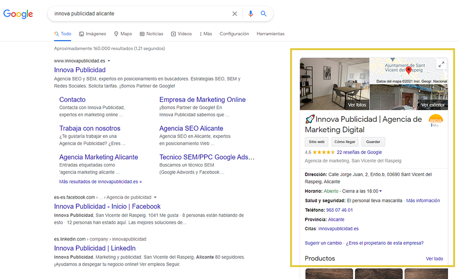 SERP Local de Google My Business